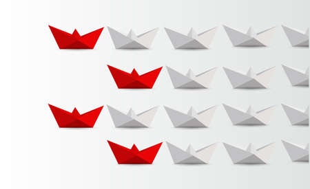 Leadership origami boats concept  blue and white paper boats