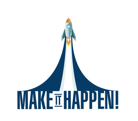 Illustration pour Make things happen rocket smoke message illustration isolated over a white background - image libre de droit