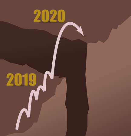 2019 to 2020 jumping mountains to achieve goals concept illustration design graphic