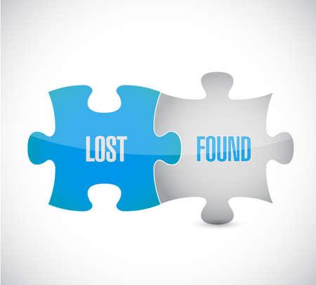 Illustration pour lost and found puzzle pieces sign illustration design over a white background - image libre de droit