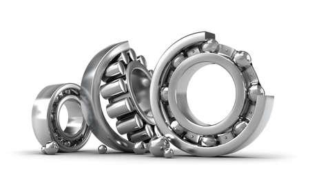 Photo pour Detailed bearings production over white - image libre de droit