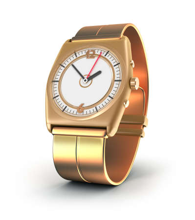 Golden watch over white