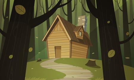 Illustration pour Cabin in woods - image libre de droit