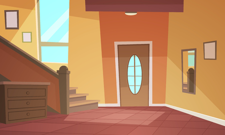 Cartoon illustration of retro style house hallway.