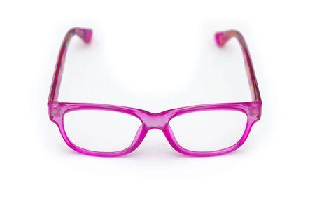 Photo pour Glasses with children's pink rim on a white background - image libre de droit