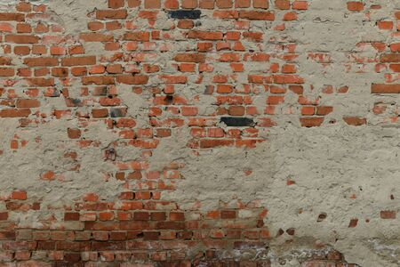 Photo pour Full old cracked brick wall surface with cracks in full screen - image libre de droit