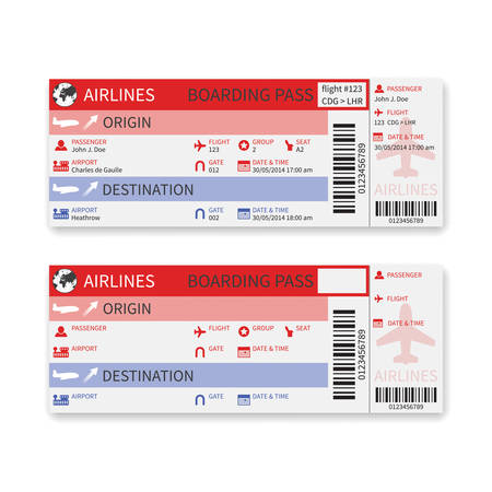 airline boarding pass ticket isolated on white background