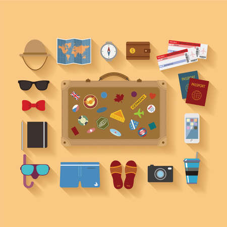 Illustration pour Vector modern flat style icons set for tourism industry, travelling on airplane, planning summer vacations  - image libre de droit