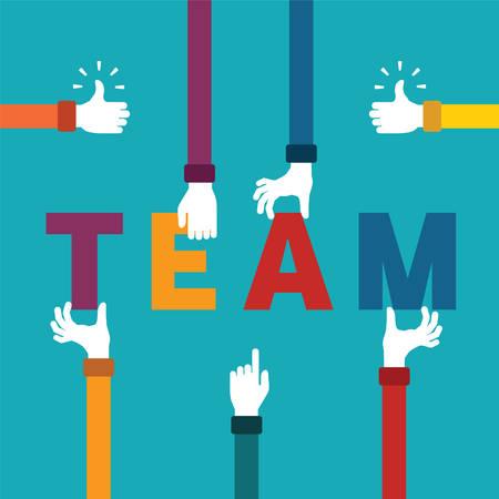 Foto de Vector concept of creative teamwork with letters and human hands - Imagen libre de derechos