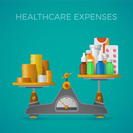 Vektor für Healthcare expenses with balance scales concept in flat style - Lizenzfreies Bild
