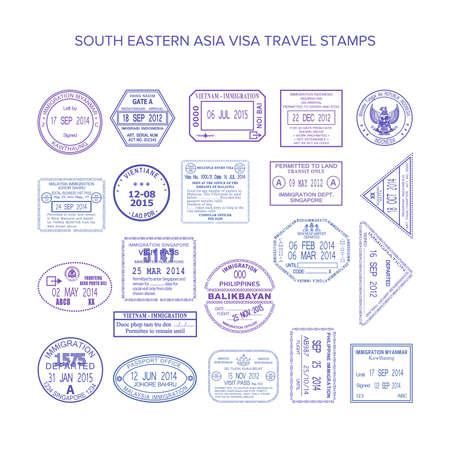 Illustration pour south eastern asia common travel stamps set - image libre de droit