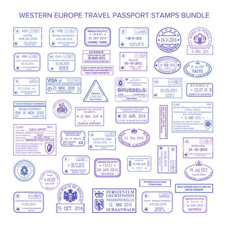 Vector western europe common travel visa stamps set