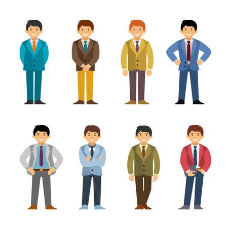 Cartoon man in business suit set flat style.