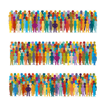 Illustration pour Set of vector people groups arranged in a row in flat style - image libre de droit