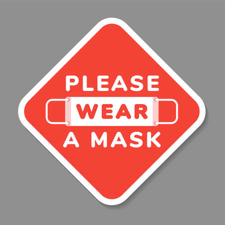Ilustración de Vector attention sign, please wear face mask, in flat style - Imagen libre de derechos
