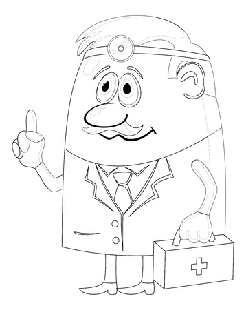 Doctor, cartoon character, man in uniform with first-aid kit