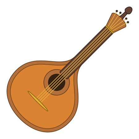 Mandolin, cartoon vintage stringed musical instrument of troubadours and performers of serenades, isolated on white background. Vector