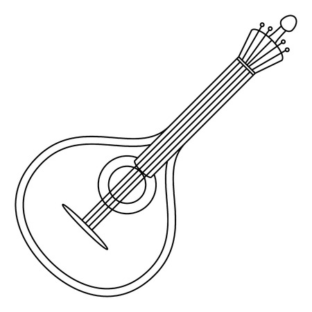 Mandolin, cartoon vintage stringed musical instrument of troubadours and performers of serenades, black contour on white background.
