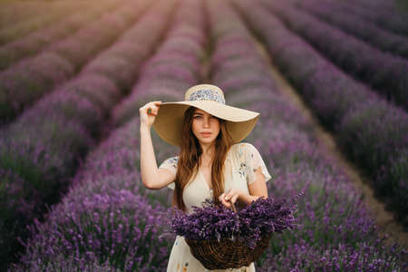 Photo pour A young and happy blonde woman in a delicate dress and a straw hat is enjoying the spring in a lavender field at sunset, holding a basket full of flowers in her hands. High quality photo - image libre de droit