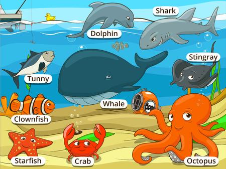 Foto de Underwater animals and fish with names cartoon educational illustration - Imagen libre de derechos