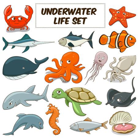 Photo pour Cartoon funny underwater life animals colorful set vector illustration - image libre de droit