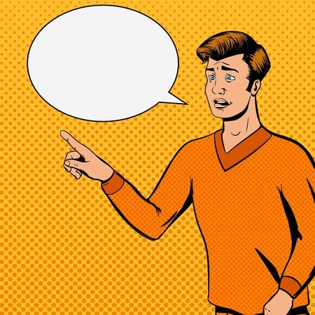 Comic strip man talks with sad face vector illustration. Comic book imitation. Pop art retro style