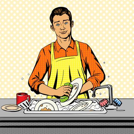 Illustration pour Man washes dishes pop art style vector illustration. Comic book style imitation - image libre de droit