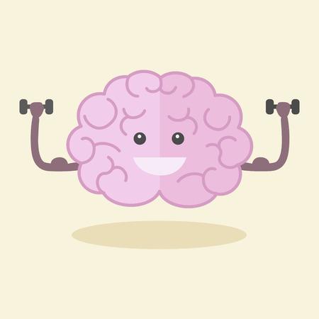 Illustration for Brain training flat style vector illustration. Colorful cartoon powerful brain. - Royalty Free Image