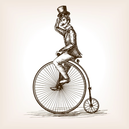 Ilustración de Man on retro vintage old bicycle sketch style vector illustration. Old hand drawn engraving imitation. Gentleman on a bicycle - Imagen libre de derechos