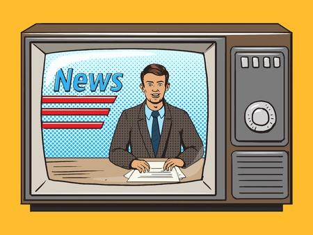 Illustration pour News presenter on tv pop art style vector illustration. Comic book style imitation. Vintage retro style. Conceptual illustration - image libre de droit