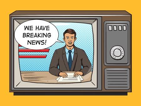 Ilustración de News presenter on tv pop art style vector illustration. Comic book style imitation. Vintage retro style. Conceptual illustration - Imagen libre de derechos