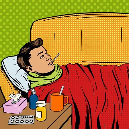 Illustration pour Man suffers cold pop art style vector illustration. Sick man. Man ill with flu. Comic book style imitation. Vintage retro style. Conceptual illustration - image libre de droit