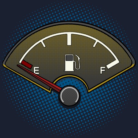 Illustration pour Fuel gauge pop art style vector illustration. Empty fuel tank. Comic book style imitation. Vintage retro style. Conceptual illustration - image libre de droit