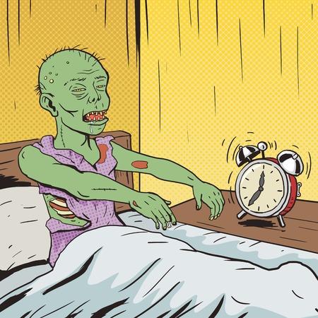 Illustration pour Zombie waking up in the morning pop art style vector illustration. Comic book style imitation. Vintage retro style. Conceptual illustration - image libre de droit