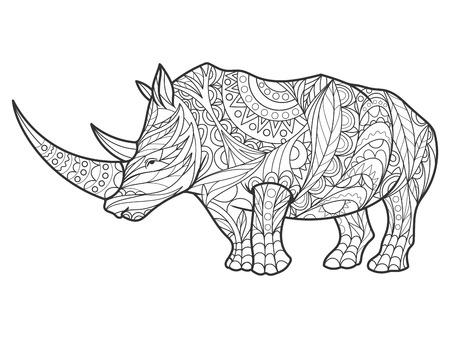 Ilustración de Rhinoceros coloring book for adults illustration. Anti-stress coloring for adult. style. Black and white lines. Lace pattern - Imagen libre de derechos
