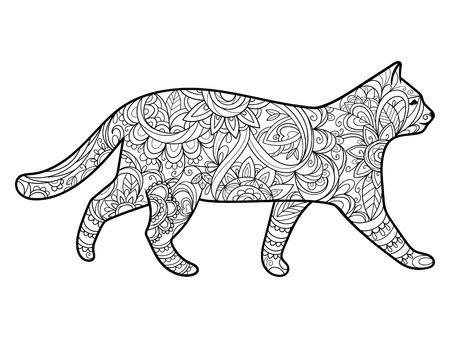 Illustration pour Cat coloring book for adults illustration. Anti-stress coloring for adult. style. Black and white lines. Lace pattern - image libre de droit