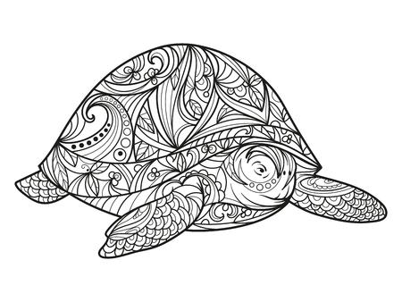 Illustration pour Turtle coloring book for adults illustration. Anti-stress coloring for adult. style. Black and white lines. Lace pattern - image libre de droit
