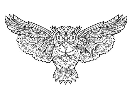 Illustration for Owl bird coloring book for adults vector illustration. Anti-stress coloring for adult. Zentangle style. Black and white lines. Lace pattern - Royalty Free Image