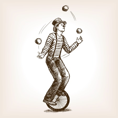 Juggler man on retro vintage old unicycle sketch style illustration. Old hand drawn engraving imitation. Juggler circus on a unicycle