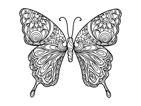 Illustration pour Butterfly coloring book for adults illustration. Anti-stress coloring for adult. Black and white lines. Lace pattern - image libre de droit
