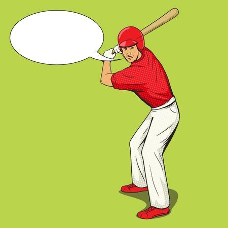Baseball player with bat pop art style vector illustration. Human illustration. Comic book style imitation. Vintage retro style. Conceptual illustration