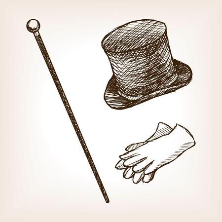Illustration for Vintage clothes cylinder cane gloves sketch style illustration. Old  engraving imitation. Vintage object illustration - Royalty Free Image