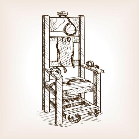 Illustration pour Electric chair sketch style vector illustration. Old hand drawn engraving imitation. - image libre de droit