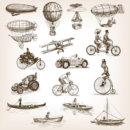 Illustration pour Vintage transport set sketch style vector illustration. Air water transport. Vintage vehicles. Old engraving imitation. - image libre de droit