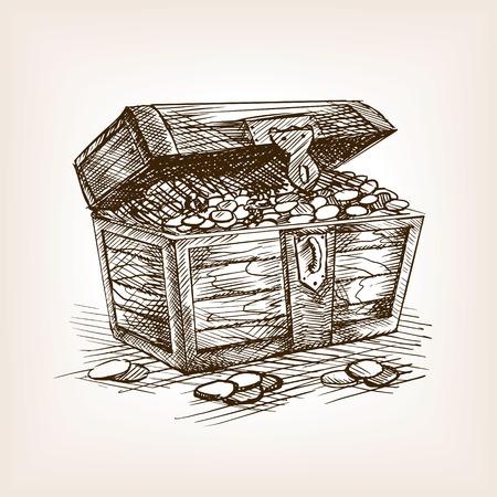 Illustration pour Treasure chest sketch style vector illustration. Old hand drawn engraving imitation. - image libre de droit