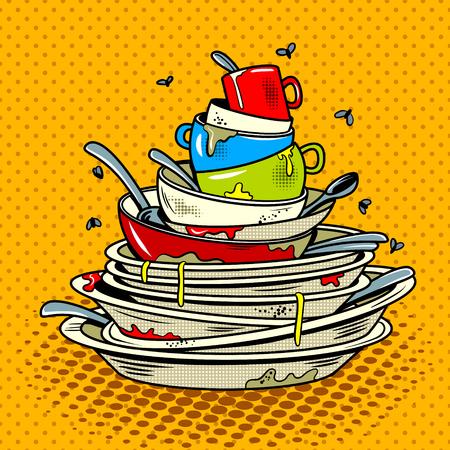 Illustration pour Dirty dishes comic book pop art retro style vector illustratoin - image libre de droit