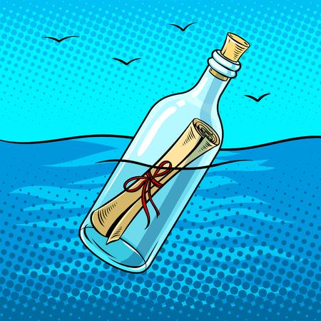 Illustration pour Message in a bottle pop art retro vector illustration. Comic book style imitation. - image libre de droit