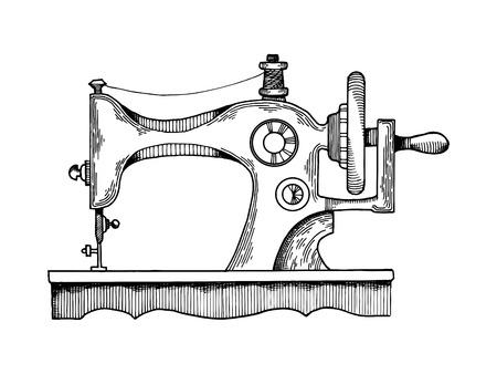 Illustration pour Sewing machine vector illustration. Scratch board style imitation. Hand drawn image. - image libre de droit