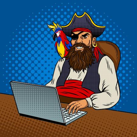Illustration pour Pirate laptop computer pop art retro vector illustration. Piracy on the Internet. Comic book style imitation. - image libre de droit