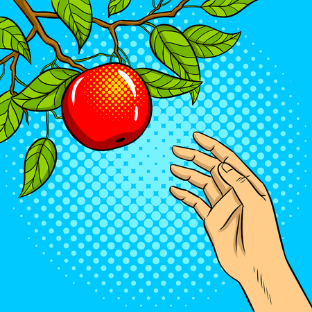 Hand reaches for a fruit illustration.